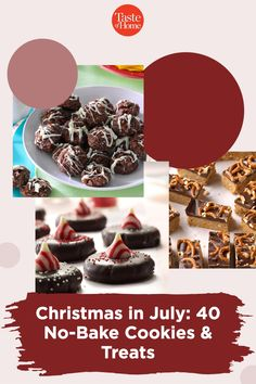 """Celebrate """"Christmas in July"""" ith these delicious no-bake Christmas cookies. Christmas Desserts, Christmas Treats, Christmas Cookies, No Bake Cookies, Yummy Cookies, No Bake Desserts, Dessert Recipes, Delicious Cookie Recipes, Christmas In July"""