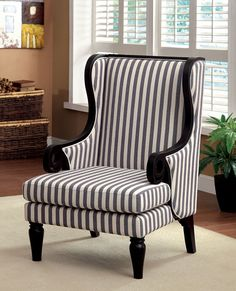 """Riviera collection transitional style black finish wood trim and striped fabric upholstered wing high back accent chair. Chair measures 28 1/4"""" x 31"""" x 43 3/4"""" H. Some assembly required."""