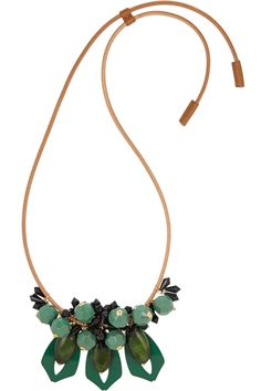 Marni | Leather, resin and horn necklace | NET-A-PORTER.COM