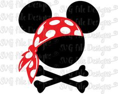 Pirate Mickey Mouse Bandana Crossbones Disney Halloween Cutting File / Printable Clipart in Svg, Eps, Dxf, Png, Jpeg for Cricut & Silhouette