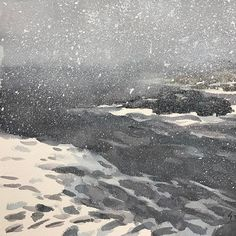 Watercolor painting of a snowy beach #watercolorpainting #watercolor on #strathmorepaper #instaart #instagood #instaartist #instadaily #snowyday #snowybeach
