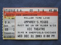 Umphrey's McGee, Vic Theatre, 12/31/2003, 45.00