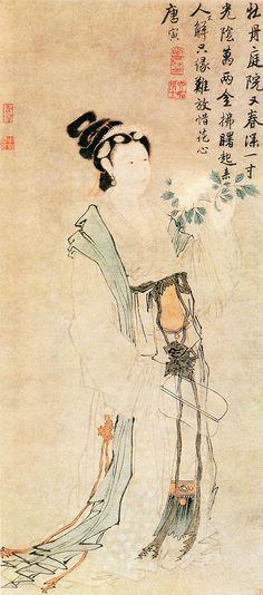 明 唐寅 牡丹仕女图 上海博物馆 Painted by Tang Yin (唐寅, 1470-1523)