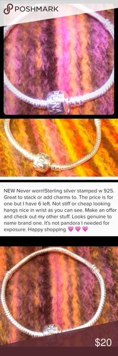 BRANDNEW one left Pandora look Bracelet 925 silver Please read description above in picture and ratings from the others I sold looks like the authentic pandora bracelet great quality. My last one 😞 wish I had more great item.  Make offer. 😃👍🏻🎀💝💅🏼 Custom 925 stamed  Jewelry Bracelets