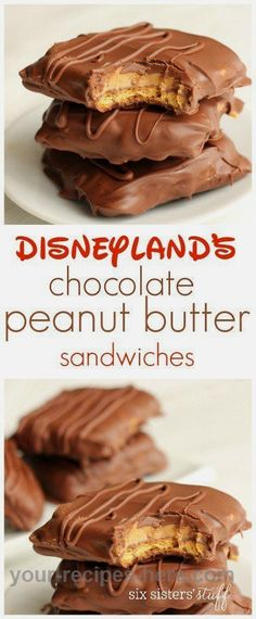 Disneyland's Chocolate Peanut Butter Sandwich 6 sheets graham crackers, 3 c milk choc chips & 2 t sh Candy Recipes, Sweet Recipes, Baking Recipes, Cookie Recipes, Healthy Recipes, Healthy Meals, Dessert Recipes, Baking Desserts, Health Desserts