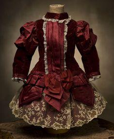 Antique Maroon SIlk & Velvet Dress for Jumeau, Bru, Steiner, French bebe Doll Antique dolls at Respectfulbear.com