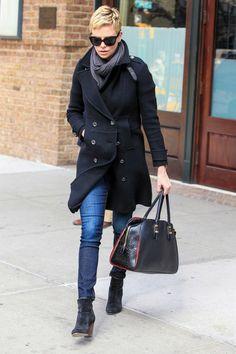 Charlize Theron: skinnies, black coat & booties, grey scarf