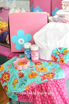 baking birthday party - READ - Do the bakery boxes (get from 3 women and an over), decorate cookies or cakes.  check out the etsy site for apron and hat.