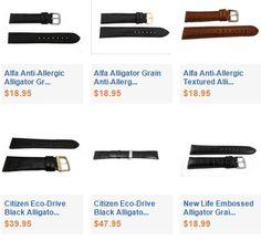 Alligator Grain Leather Watch Bands