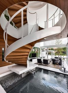 with a space has a limited floor area, a spiral staircase would be a good answer to that problem. Unlike the gratifying staircase design, spiral stairs could acknowledge going on lesser announce and it is usually open. Interior Stairs, Interior Architecture, Interior And Exterior, Room Interior, Rendering Architecture, Singapore Architecture, Architecture Wallpaper, Studio Interior, 3d Rendering