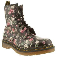 Women's Black & Pink Dr Martens 8 Eye Vintage Rose Boots | schuh