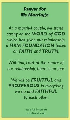 As a married couple, we stand strong on Your Word which has given our relationship a firm foundation based on faith and truth. With You at t...