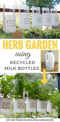 repurpose used plastic milk bottles to make a bottle herb garden. Plastic bottles make the best planters