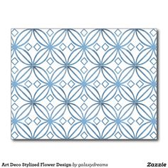 Art Deco Stylized Flower Design Postcard