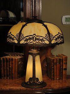 Large Art Nouveau Slag Glass Lighted Base Lamp