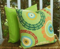 Decorative Outdoor Pillow: Designer Lime Green Suzani Outdoor 18 X 18 Accent Throw Toss Pillow Cover