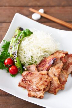 A fragrant ginger and soy sauce marinade turns a cheap cut of pork into tender and delicious Japanese-style Ginger Pork, or Shogayaki. Raw Food Recipes, Veggie Recipes, Asian Recipes, Cooking Recipes, Veggie Food, Yummy Recipes, Cooking Tips, Japanese Ginger, Deserts