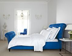 Cobalt Blue with Feather & Black's Henrietta Bed