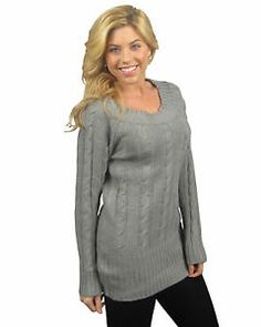 Chunky Cable Knit Tunic Long Sleeve Sweater Scoop Boat Neck Top S M L XL