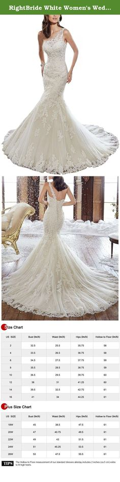 RightBride White Women's Wedding Dresses 2017 for Bride Applique One-Shoulder Mermaid Tulle Train Wedding Bridal Gown (16). RightBride White Women's Wedding Dresses 2017 for Bride Applique One-Shoulder Mermaid Tulle Train Wedding Bridal Gown (16) RightBride, Just as the store name indicates, is always dedicated to be the Right online shop on Amazon for wedding dresses for bride, So quality is our first priority. 1.With high quality fabrics, beads, pearls, crystals and threads, RightBride…