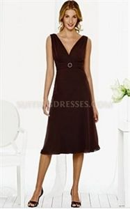After Six 6511 Espresso Chiffon Tea Length Sleeveless Cocktail Dresses   $102.00