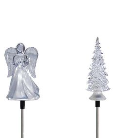 Love this Angel & Christmas Tree Solar Garden Stake - Set of Two on #zulily! #zulilyfinds