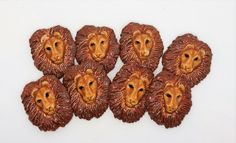 Maztex Designs Marie New Handmade Ceramic Clay Earthenware Small Lion One Face Animal head jewelry making cabochon component ideal for bead embroidery cute brown