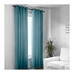 """IKEA - SANELA, Curtains, 1 pair, 55x118 """", , The thick curtains darken the room and provide privacy by preventing people outside from seeing into the room.Cotton velvet gives depth to the color and is soft to the touch.The eyelet heading allows you to hang the curtains directly on a curtain rod."""