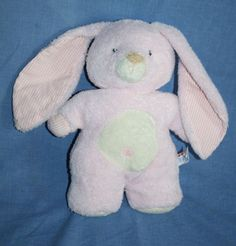 "Aurora Baby Pink Bunny Rabbit Cream tummy Gingham ear paws Soft plush Toy 11"" #Aurora"