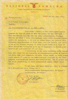 NS-brev angående Stiklestadstevnet 1942