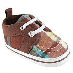 Plaid Sneaker for Baby, Brown, 6-12 months Luvable Friends. Fashionable Shoes for babies. AMAZING!
