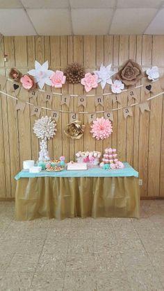 Shabby chic baby shower desert table.