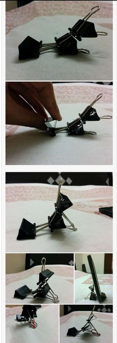Cell phone holder from 3 binder clips! - Iphone Phone Stand - Ideas of Iphone Phone Stand - Cell phone holder from 3 binder clips!