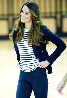 Kate Middleton wearing simple stripes and a blazer.