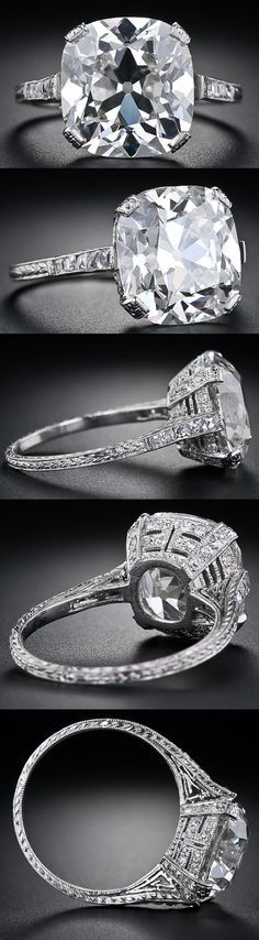 6.48 carat antique cushion cut diamond ring