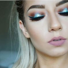 @krystalclearmakeup • @nyxcosmetics glitter liner in Crystal Turquoise  @sigmabeauty Line Ace Liquid Liner  @darkswanofdenmark lashes in style Dare @anastasiabeverlyhills Dipbrow in Medium Brown  @colourpopcosmetics Lippie Pencil in Lumiere  @stilacosmetics Stay all Day liquid lipstick in Caramello
