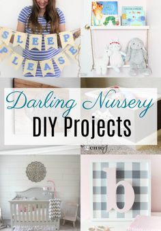 Darling DIY's for the Nursery. These DIY projects will personalize your nursery and also serve as storage or home decor. It's easy to be crafty and decorate for girls, for boys, or gender nuetral. Bring baby home in a room you will both love. Fun Projects For Kids, Cool Diy Projects, Diy For Kids, Craft Projects, Nursery Banner, Nursery Signs, Handmade Home Decor, Diy Home Decor, Diy Pinwheel