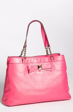 LOVE this bag for a Parisian-chic vacay. So bright and feminine.   kate spade new york 'hancock park - maryanne' leather bow shopper, large | Nordstrom