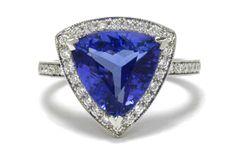 Tempting Tanzanite Triangular Diamond Halo Ring White Gold Art Deco Design Millegrain Band Diamonds Vivid Violet Purple Blue Gem Size 6 1/2 by BellaRosaGalleries on Etsy https://www.etsy.com/listing/267957973/tempting-tanzanite-triangular-diamond