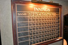 """Awesome old bowling score board with """"innings"""". Love the frame, the font, """"Tally"""", and brass lamp."""