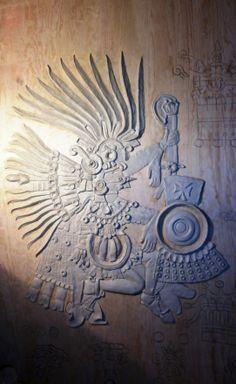 """04.04.2014 Proceso de modelado a mano con pasta epóxica de la obra """"Quetzalcóatl. la Serpiente Emplumada"""" del Códice Borbónico, sobre triplay de madera de pino de 16 mm. Vista general de Quetzalcóatl prácticamente terminado"""