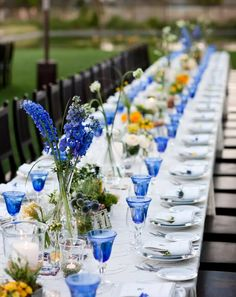 Blue colored glassware at an outdoor wedding reception Wedding Reception Planning, Outdoor Wedding Reception, Reception Table, Wedding Receptions, Wedding Table, Garden Wedding, Casual Outdoor Weddings, Simple Weddings, Chic Wedding