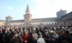 Culture and education ministers and author's grandson pay tribute during ceremony at Sforza Castle