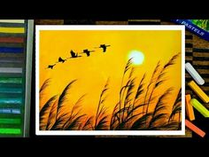 Beautiful Sunset Scenery Drawing - Soft Pastel Drawing - Drawing for beginners. - Trend Topic For You 2020 Soft Pastel Art, Chalk Pastel Art, Chalk Pastels, Soft Pastels, Oil Pastel Paintings, Oil Pastel Drawings, Easy Drawings, Horse Paintings, Drawing Sunset