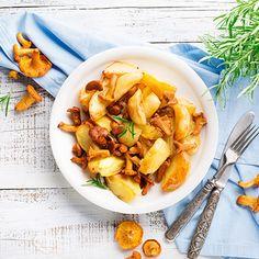 Kartoffelspalten mit Pfifferlingen