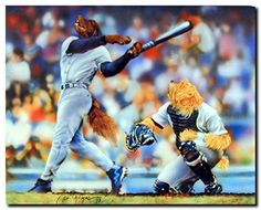 Enjoy the beauty of this beautiful animal art print poster. This unique poster is captures the image of two dogs playing baseball which brings a unique feel to any room in the house specially for any baseball lover. This poster is ideal for kids room, sports person and also in sports clubs as well.