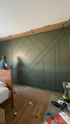 Accent Walls In Living Room, Accent Wall Bedroom, Room Decor Bedroom, Gray Accent Walls, Wood Wall In Bedroom, Diy Wood Wall, Wall Accents, Home Renovation, Home Remodeling