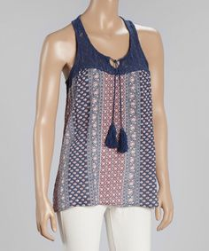 Look at this Triple Five Soul Navy & Red Lace-Yoke Tank on #zulily today!