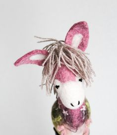 Colette - Felt Donkey. Art Toy. Felted toy. Marionette. Puppet. Handmade Toys.  pink, gray, green. MADE TO ORDER by TwoSadDonkeys on Etsy https://www.etsy.com/listing/224003953/colette-felt-donkey-art-toy-felted-toy