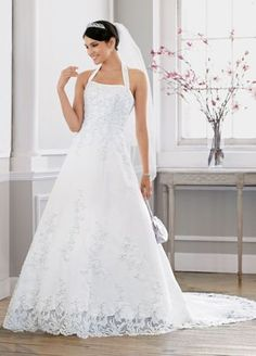 AMY LIKES $449.00 Davids Bridal  Satin halter A-line gown with beaded lace applique and cut-out-lace hem.  Chapel train.